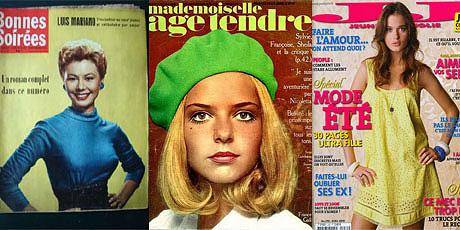 Montage de couvertures des magazines « Bonnes Soirées », « Mademoiselle âge tendre » et « Jeune et Jolie ».