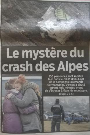 Couverture Le Parisien_crash germanwings